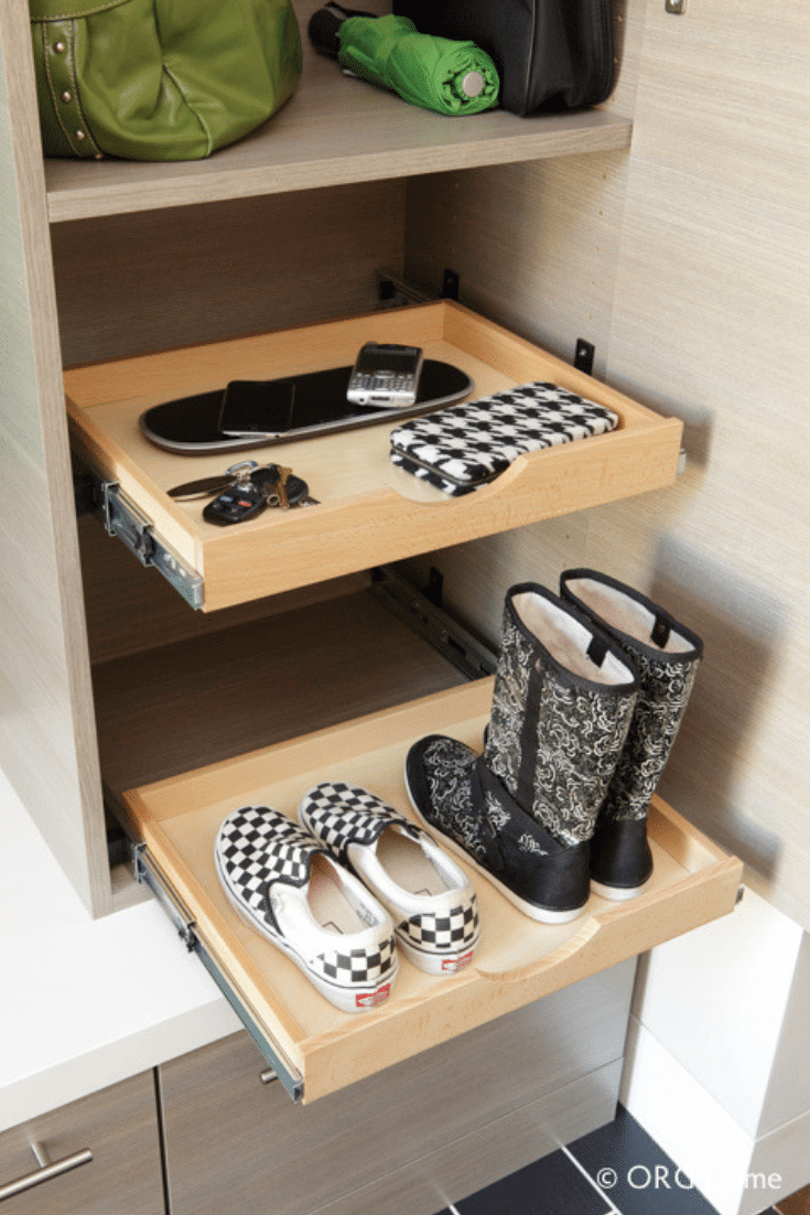Slide out shelves which are deeper | Innovate Home Org  | #RolloutShelf #Shoestoragetips #Slideoutshelf