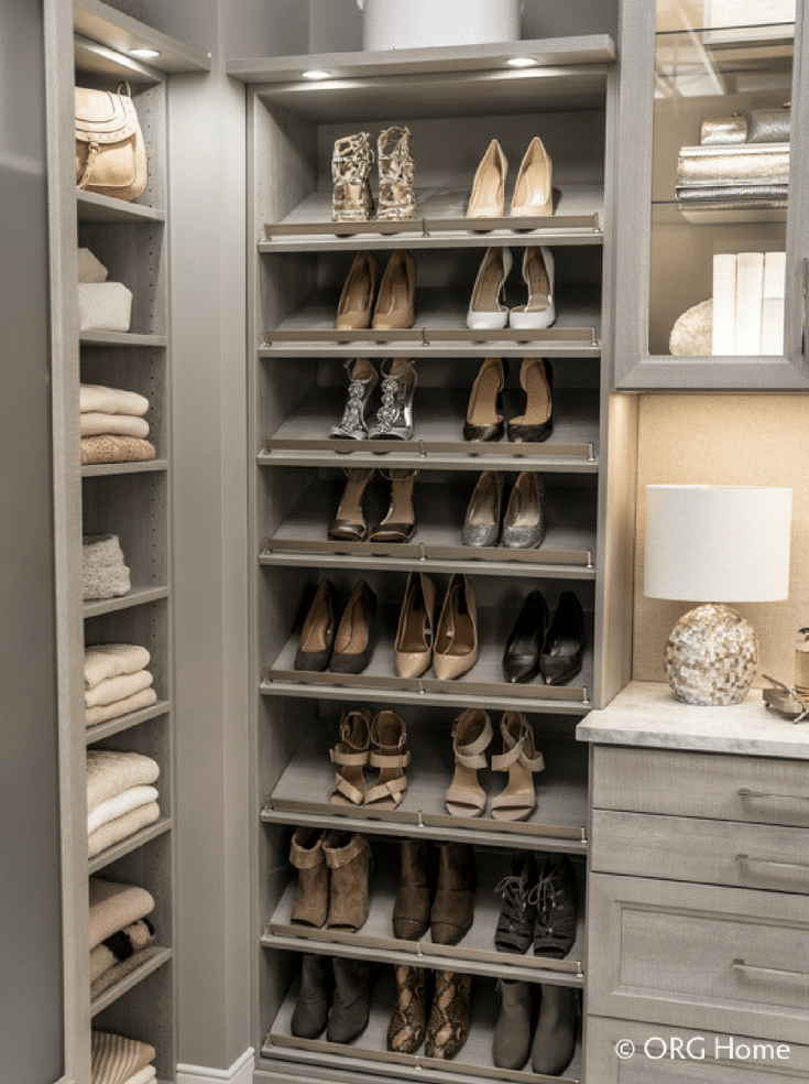 Raised shoe shelves when you need efficiency for closet | Innovate Home Org | #RaisedShoeShelf #ShoeShelving #CustomCloset