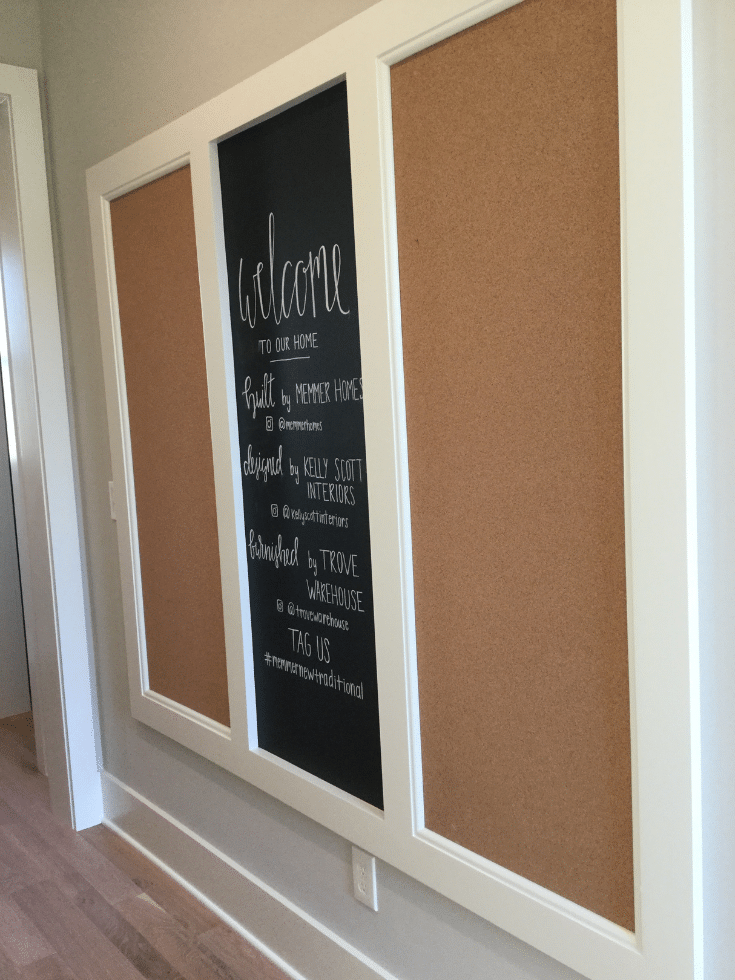 Chalkboard and corkboard in a mudroom entryway in Columbus ohio | Innovate Home Org | #Chalkboard #EntrywayStorage #MudroomIdeas
