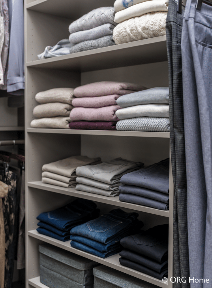 Adjustable shelves for organized sweater storage | Innovate Home Org | Columbus, OH | #ClosetSystem #OpenShelves #SweaterStorage