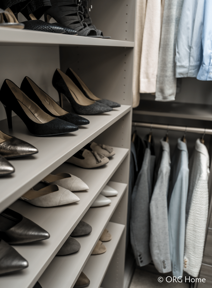 Flat shoe shelves in a custom Columbus closet | Innovate Home Org | Innovate Building Solutions | #CustomCloset #ShoeShelves #CustomShelves #ShoeOrganization