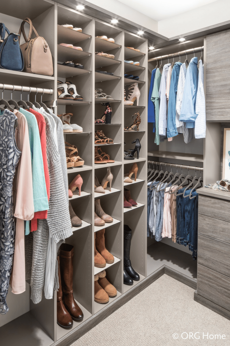 Hanging sections with shelving sections on an alternating wall in a custom closet | Innovate Home Org } Innovate Building Solutions | #ShoeStorage #Longhanging #DressStorage