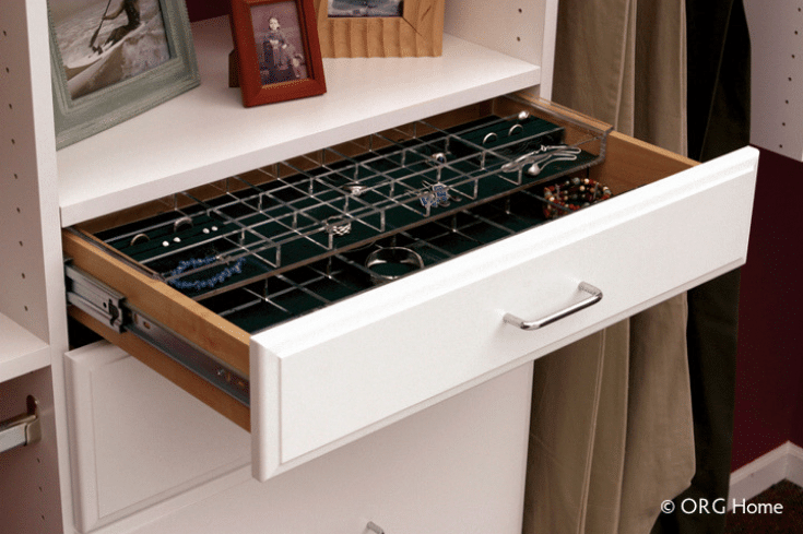Smaller depth drawers for jewelry socks underwear in a custom Columbus closet | Innovate Home Org | Dublin, Ohio | #JewelryDrawer #StorageDrawers #ClosetOrganizer