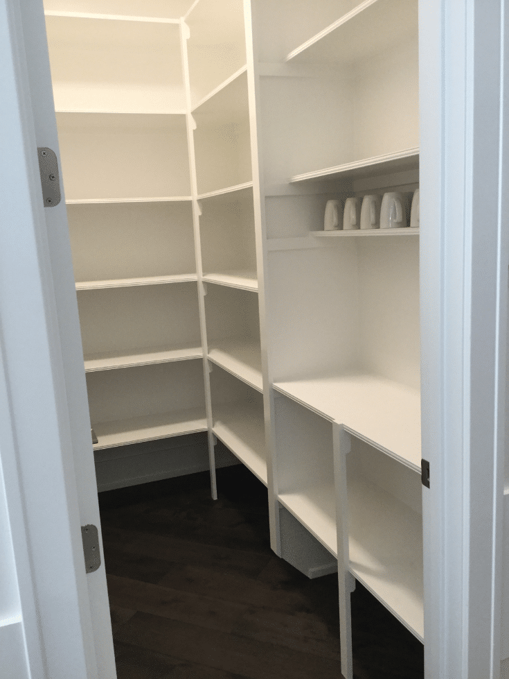 Unadjustable shelving in a custom home in Columbus Ohio | Innovate Home Org | Innovate Building Solutions | #PantryStorage #UnadjustableStorage #AdjustableStorage #PoorlyDesigned