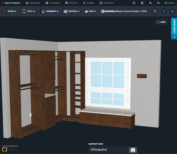 3D design of a wood looking closet system Columbus | Innovate Home Org | #3DDesign #CustomDesign #ProfessionalDesigner