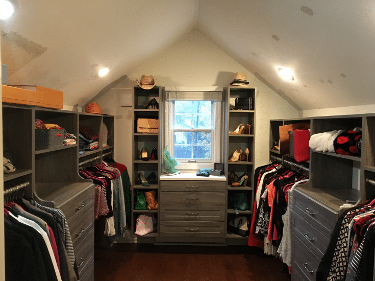 Dormer closet in worthington suburb of columbus ohio | Innovate Home Org | Columbus, Ohio | #ClosetStorage #CustomStorage #ClosetOrganization