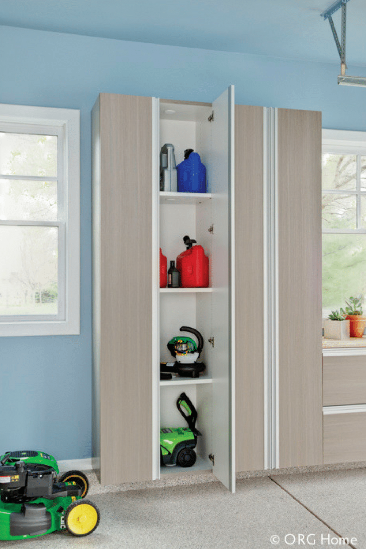 Wall hung wood garage cabinets provide extra storage and get things off the ground Upper Arlington Ohio | Innovate Home Org | Innovate Building Solutions | #WallHungStorage #GarageStorage #StrongCabinets