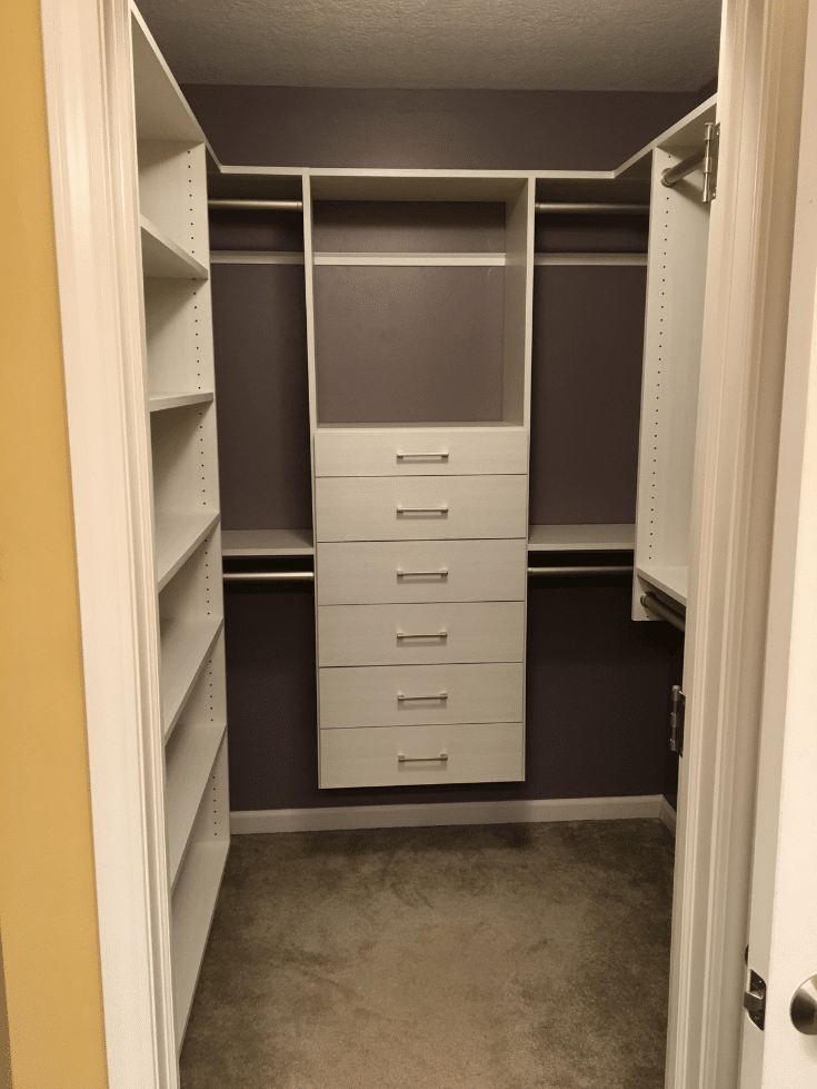 A narrow walk in closet in Dublin ohio | Innovate Home Org | #NarrowCloset #Smallcloset #organizationcloset #columbuscustomclosets