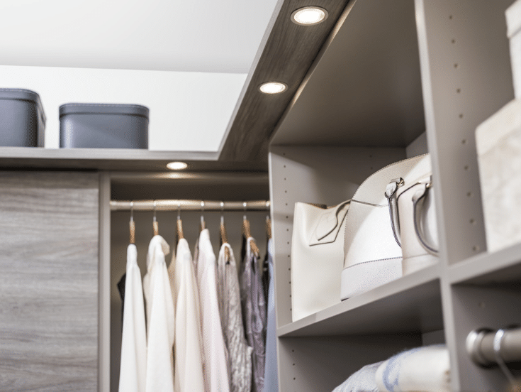 Top shelf in a closet 12 inch from ceiling | Innovate Home Org | Columbus, Ohio | #ShelvingStorage #ColumbusClosets #ClosetsByDesign #WalkInCloset
