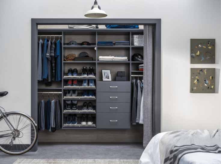 Wall hung closet system | Innovate Home Org | New Albany, Ohio | #WallHungSystems #ClosetOrganization #Reachincloset #DublinClosets