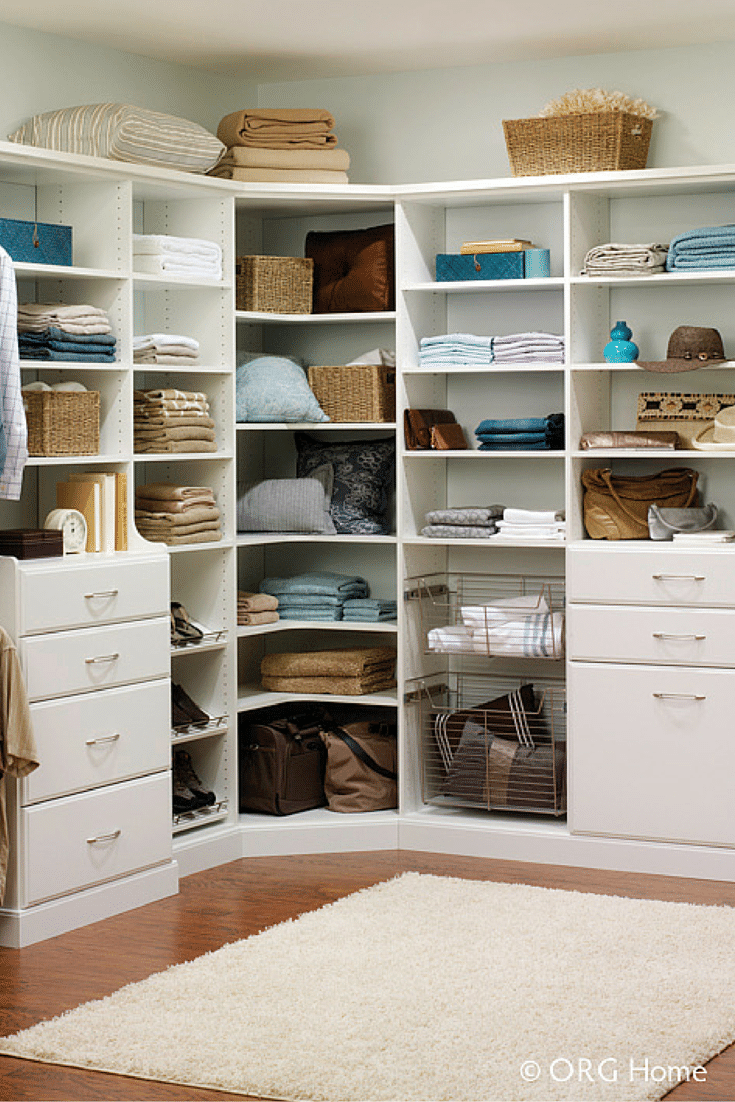 White rounded corner shelves in a custom closet columbus | Innovate Home Org | Columbus Ohio | #RoundedCorner #ShelvingStorage #OrganizationStorage