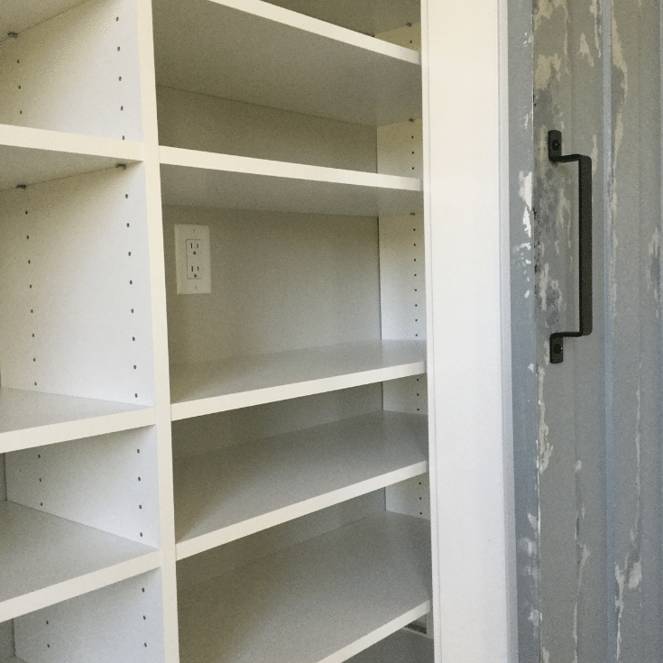 Working around outlets with custom closet shelves in Powell ohio | Innovate Home Org  | #PowellClosets #CustomClosets #StorageUnit