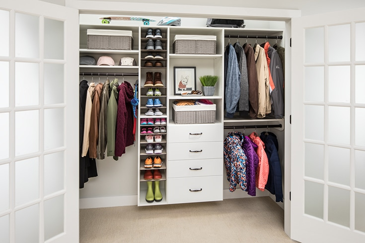 Columbus reach in closet with drawers and double hanging space | Innovate Home Org  | Columbus OH | #ReachInCloset #ClosetStorage #HanngingSpace #OrganizedCloset
