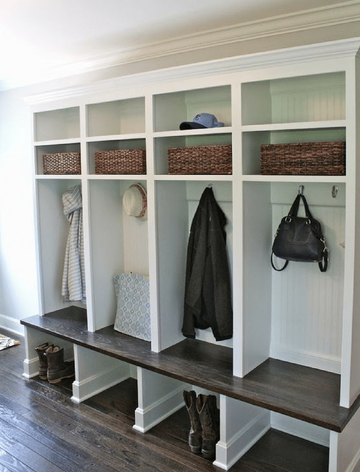 Entryway with open cubbies at the bottom for shoes www.shelterness.com  | Innovate Home Org | Columbus OH | Upper Arlington | #OpenCubbies #EntrywayStorage #ShoeStorage