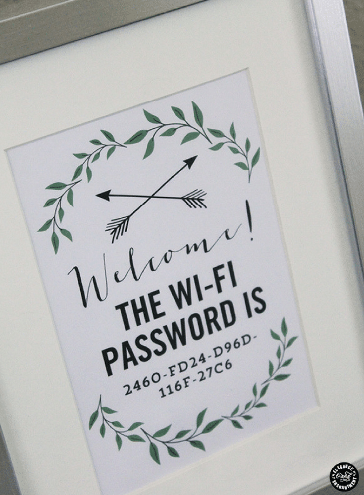 WIFI password code framed print in a guest room give credit here | Innovate Home Org | Upper Arlington OH | #WIFIPassword #WelcomingGuests #SpareBedroom #GuestBedroom
