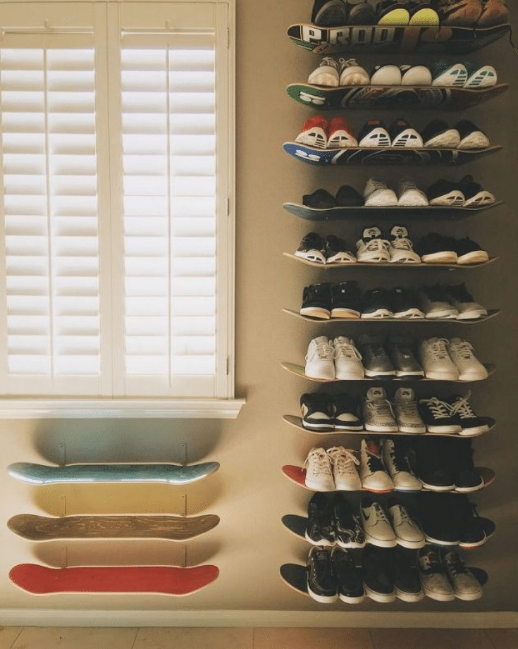 Skateboard-Shelfs for shoes in a boys closet credit www.hometalk.com | Innovate Building Solutions | Innovate Home Org | Columbus, OH | #ClosetStorage #CustomCloset #ShoeDisplay