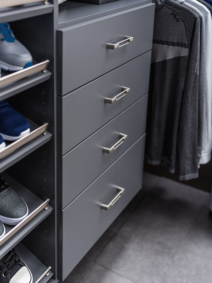 industrial style columbus closet with drawers | Innovate Building Solutions | Innovate Home Org | Upper Arlington, OH | #ColumbusClosets #ClosetDrawers #ClosetDesign