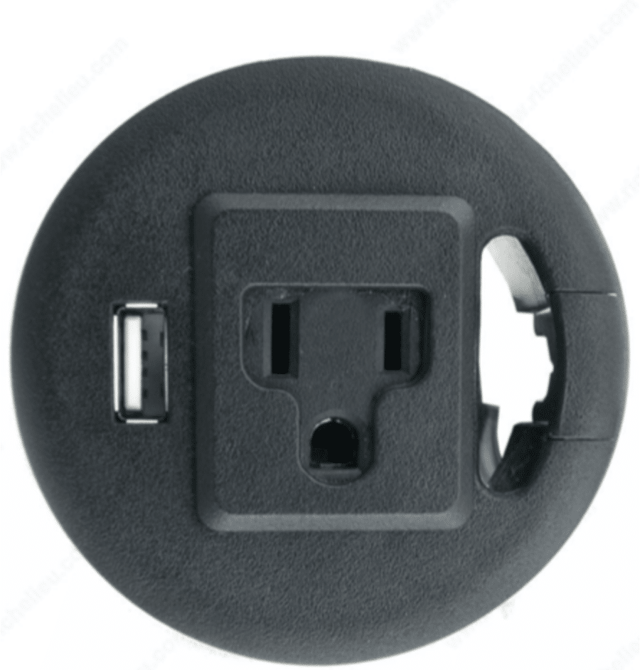 Grommet with an outlet and USB credit www.richelieu.com  | Innovate Home Org | #Grommet #OfficeCords #HomeOffice