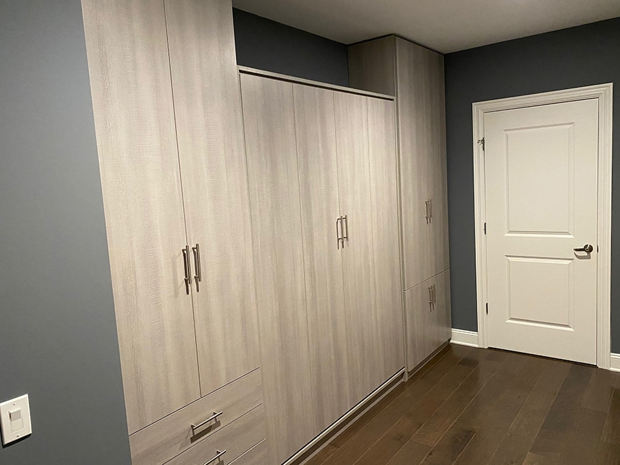 Textured laminate Murphy bed and closet wardrobe Columbus Ohio | Innovate Home Org  | #laminateWallpanels #murphyBed #ClosetSystem