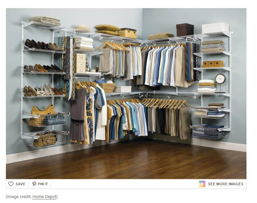 DIY your closet Home Depot sold wire closet system with adjustable sections | Innovate Home Org | Custom Storage | #closetsystems #organizationStorage #Storagesystem