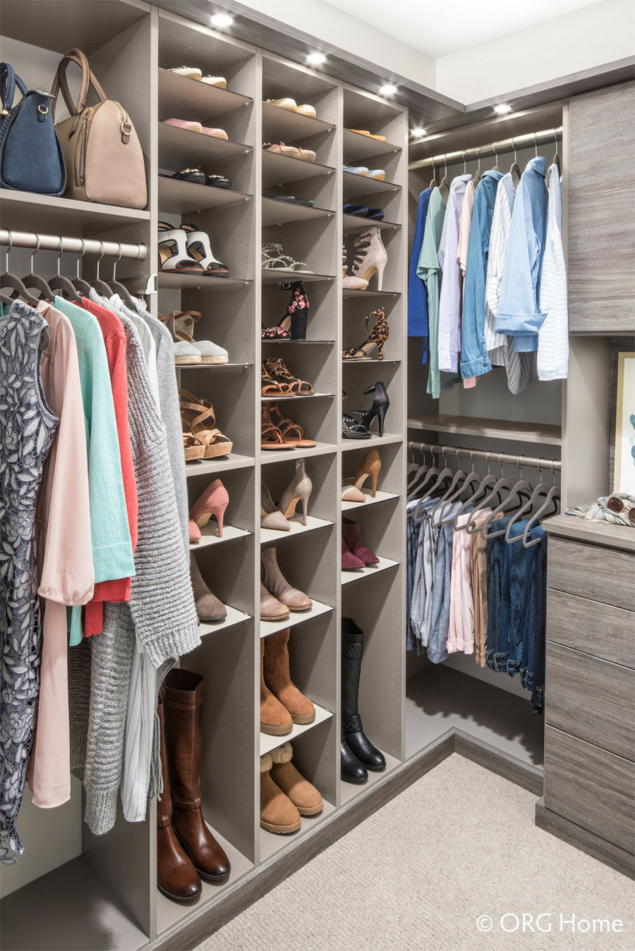 Double hanging custom closet sections New Albany ohio | Innovate Home Org | #CustomStorage #DoubleHanging #StorageOptions #CustomCloset