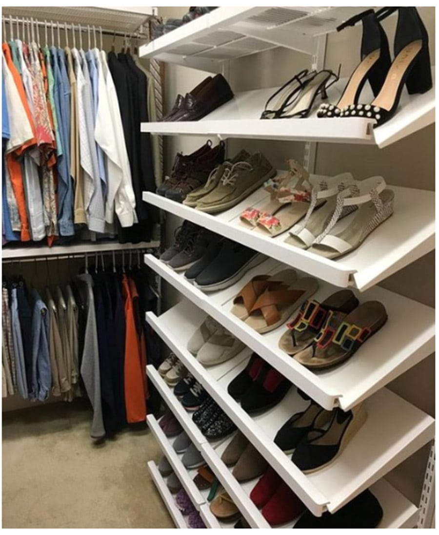 Elfa closet system from Container Store | Innovate Home Org | Custom Columbus Closet | #ClosetSystem #OrganizationSystems #ShoeShelf