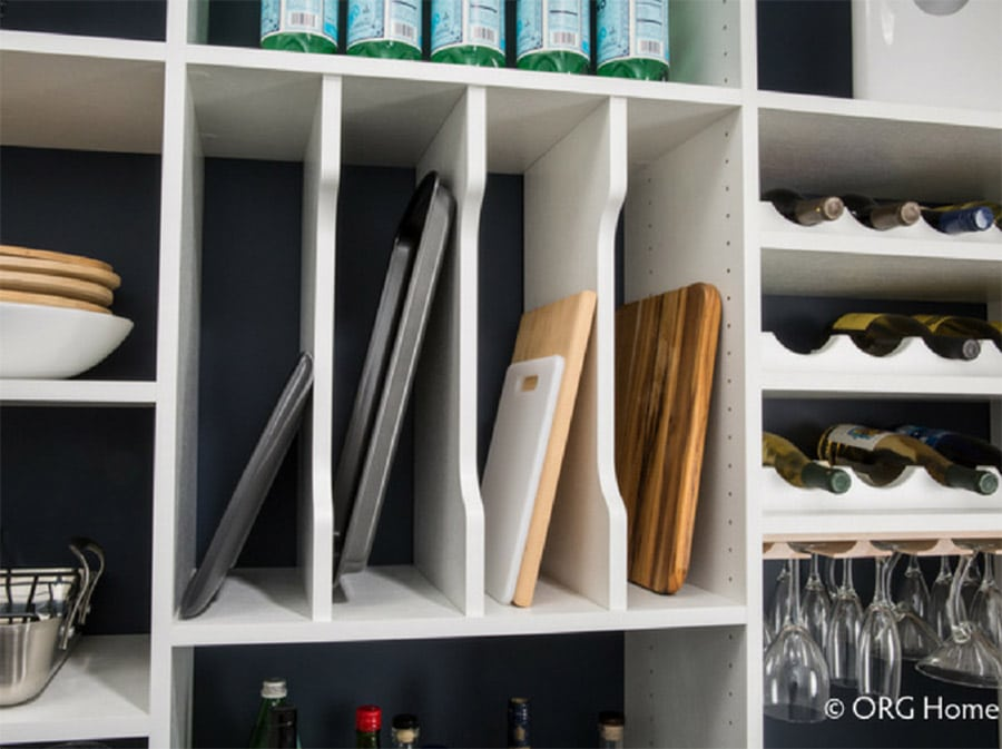 adjustable pantry shelving and cookie tray separators in a columbus custom pantry | Innovate Home Org | #PantryStorage #Shelving #KitchenPantry