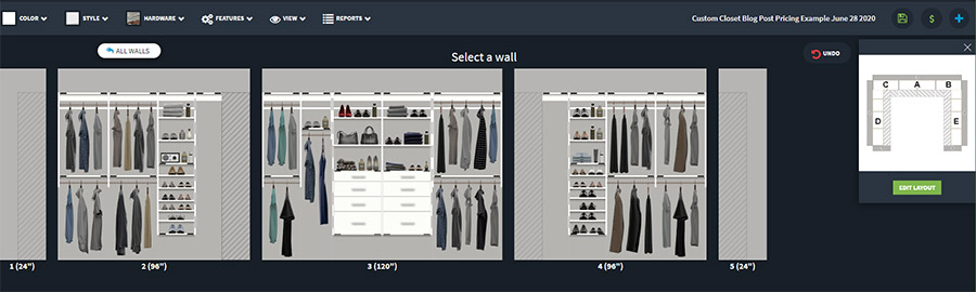base pricing example walk in closet Columbus Ohio | Innovate Home Org | #3DDesign #CustomStorage #WalkInCloset
