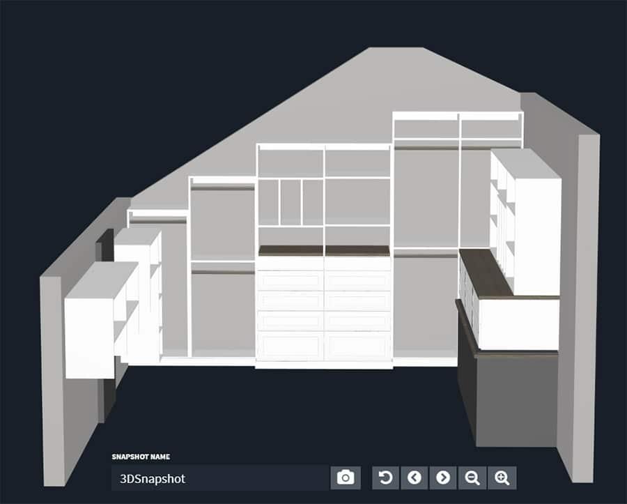 3D closet design for a slanted and dormer ceiling Columbus Ohio Innovate Home Org   Innovate Home Org   Columbus, OH   #UpperArlington #CustomStorage