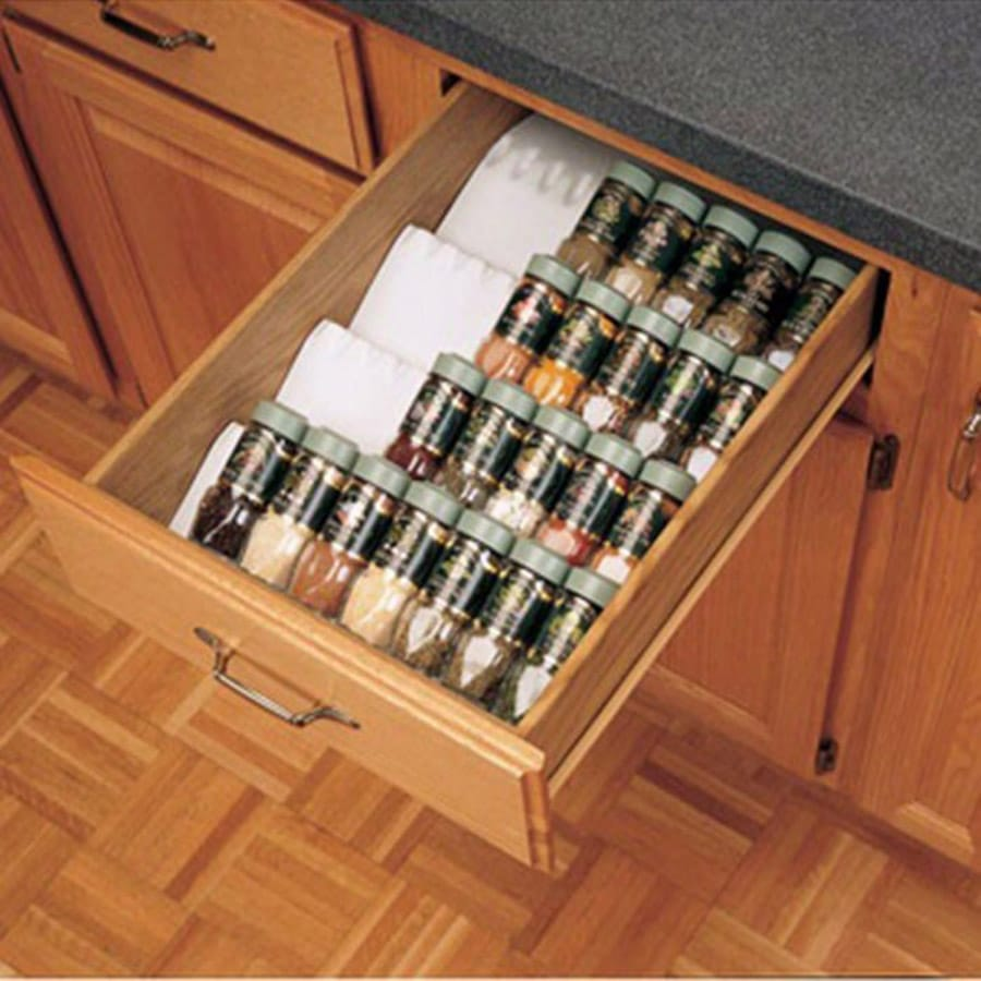 spice rack in a pull out drawer | Innovate Home Org | Columbus Pantry | Dublin, OH Pantry | #PantryOrganizers | #ContainerStore #Rockler