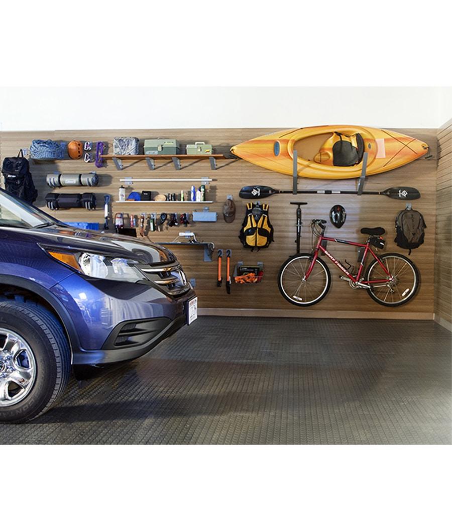 Design flaw 3 garage slatwall for bikes and kayaks Columbus Ohio | Innovate Home Org | #Garage #StorageGarage #BikeStorage #Slatwall