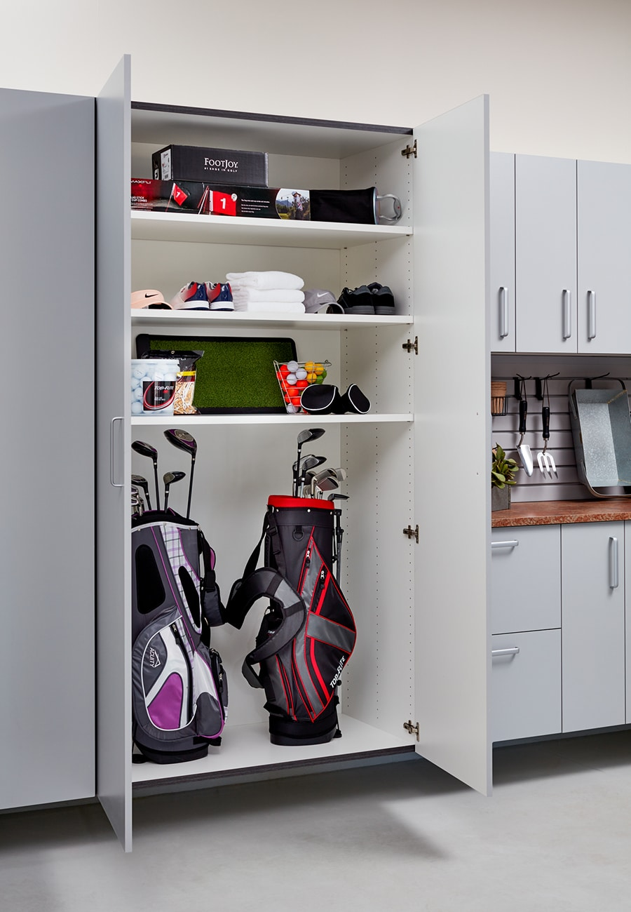 Design flaw 7 gray 1 inch thick garage cabinetry and shelving columbus ohio | Innovate Home Org | Innovate Building Solutions | #GarageCabinets #GarageHangngStorage #GarageStorage