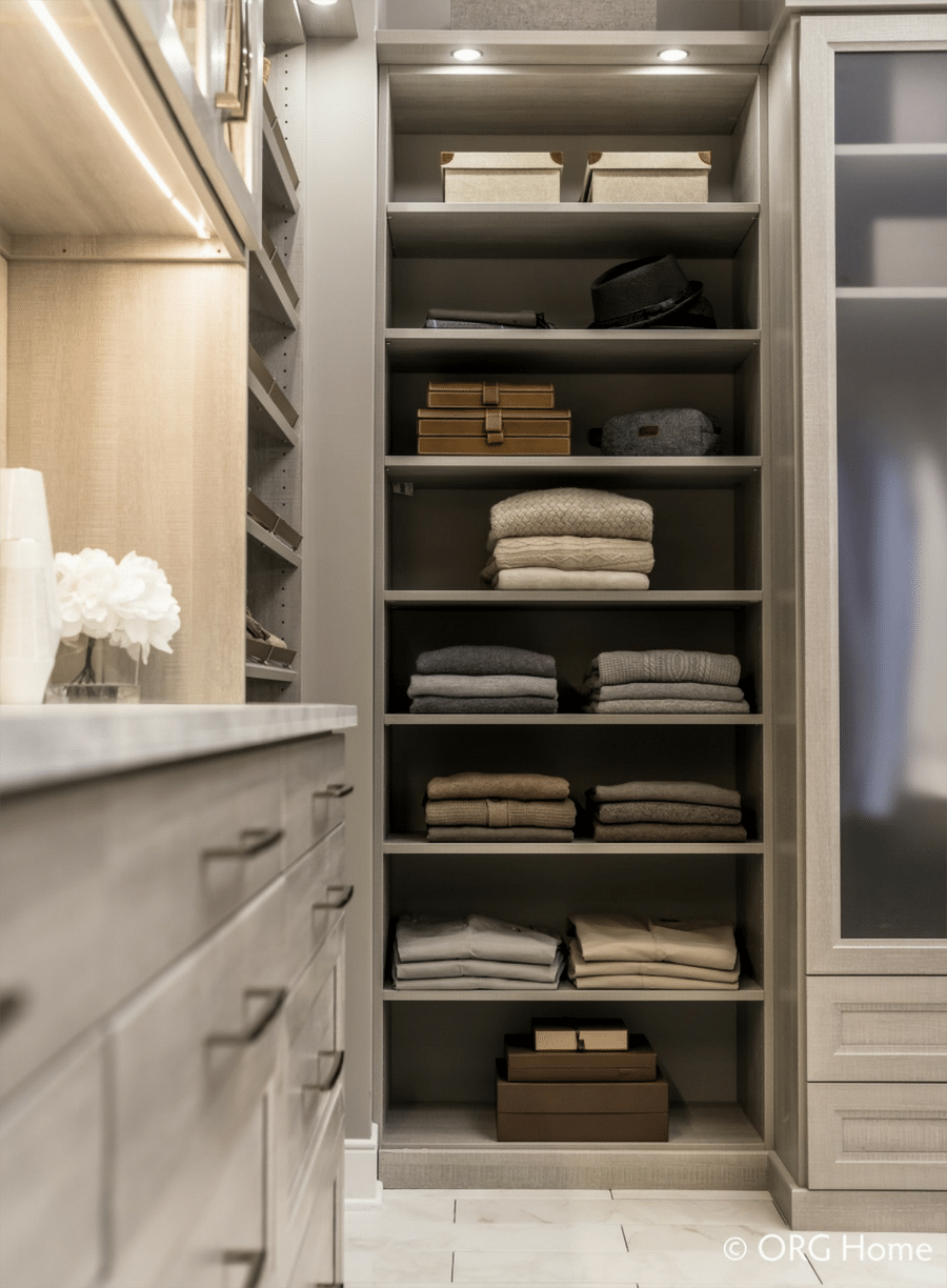 closet shelving with sweaters vs. hanging columbus | Innovate Building Solutions | Innovate Home Org | #CustomCloset #Shelving #ShoeStorage