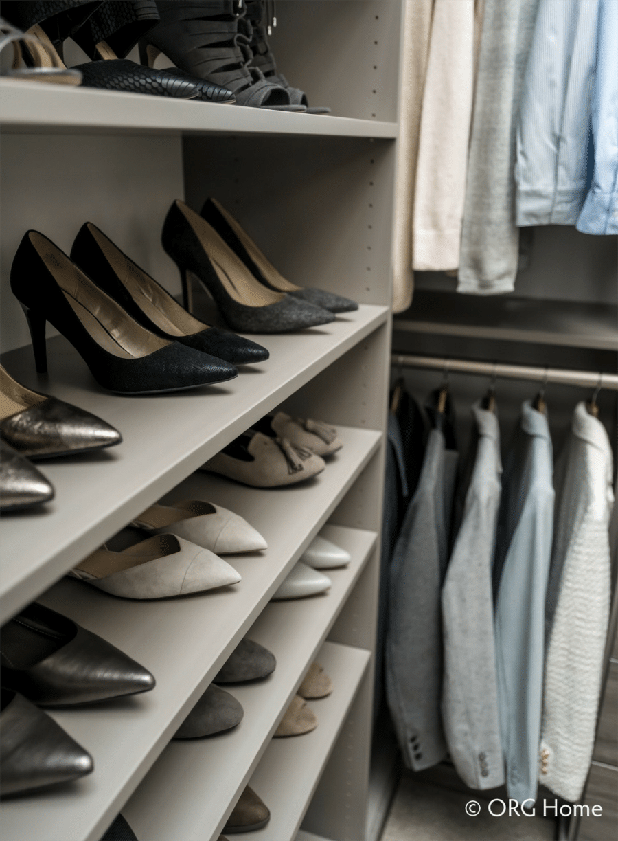 shoe shelving dublin ohio custom closet | Innovate Building Solutions | Innovate Home Org | #ShoeStorage #CustomCloset #StorageSolutions #ShelvingStorage