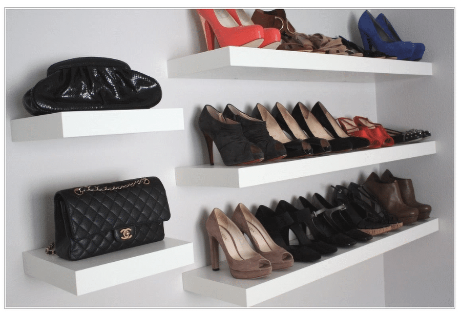 IKEA shelves with shoes and purse collection credit www.adellaandco.wordpress.com | Innovate Home Org | Ikea #IKEAStoage #CustomCloset #OrganizationSystems