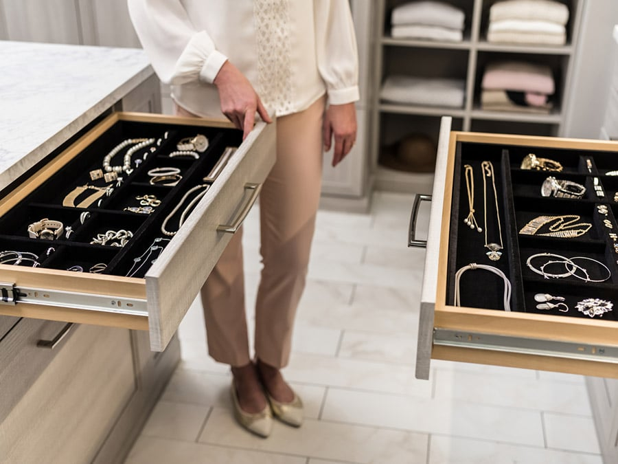 Jewelry drawers in a pataskala custom closet | #JewleryTrays #CustomStorage #Organization