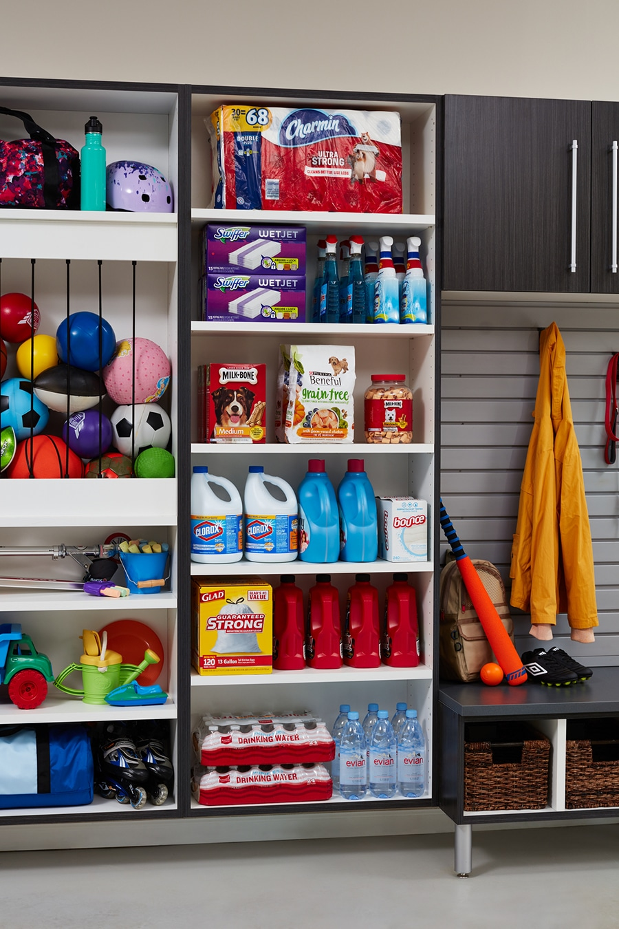 10 don't forget about kids balls on the garage floor use a ball stay | Innovate Home Org | #Garagefloor #garagecabinets #Homeorganization