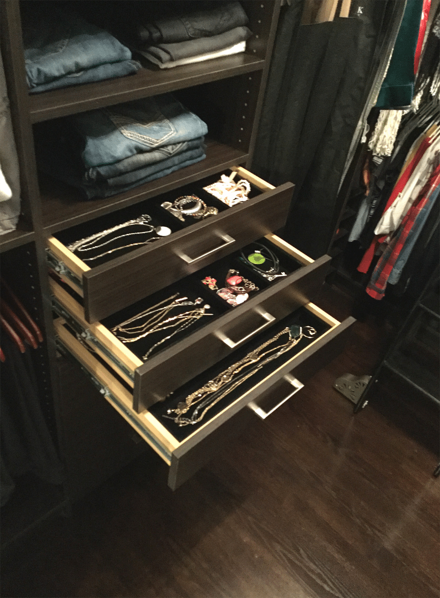 Step 10 solution 1 Velvet lined jewelry drawer boxes in a luxury custom closet in Columbus Ohio | Innovate Home Org | #Customstorage #jewlerytrays #drawers