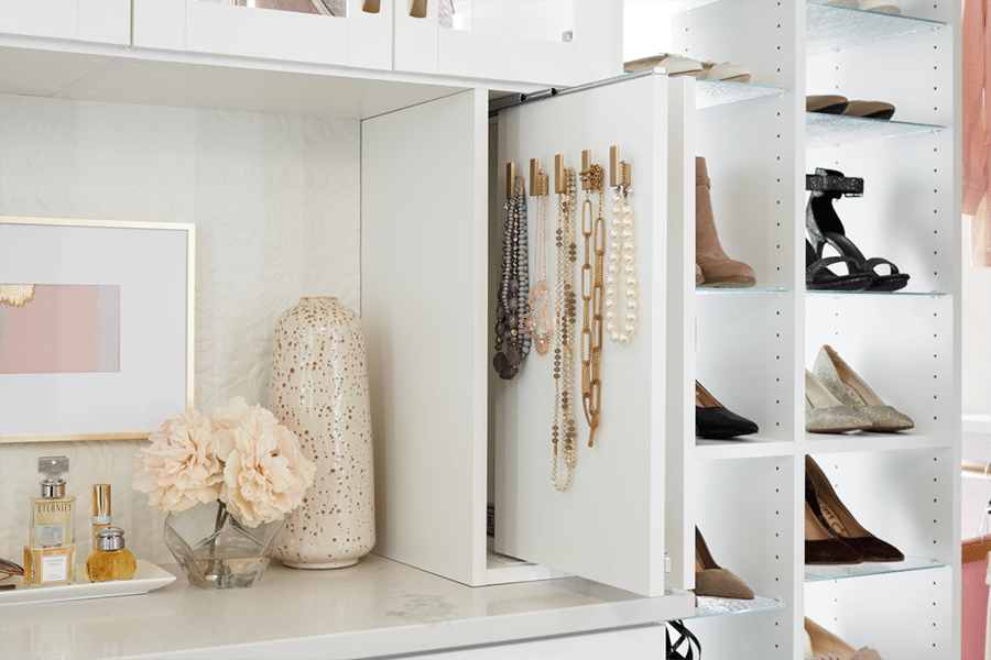 Step 10 solution 3 Slide out jewely area for necklaces columbus | Innovate Home Org | #Jewlery #JewleryStorage #CustomStorage