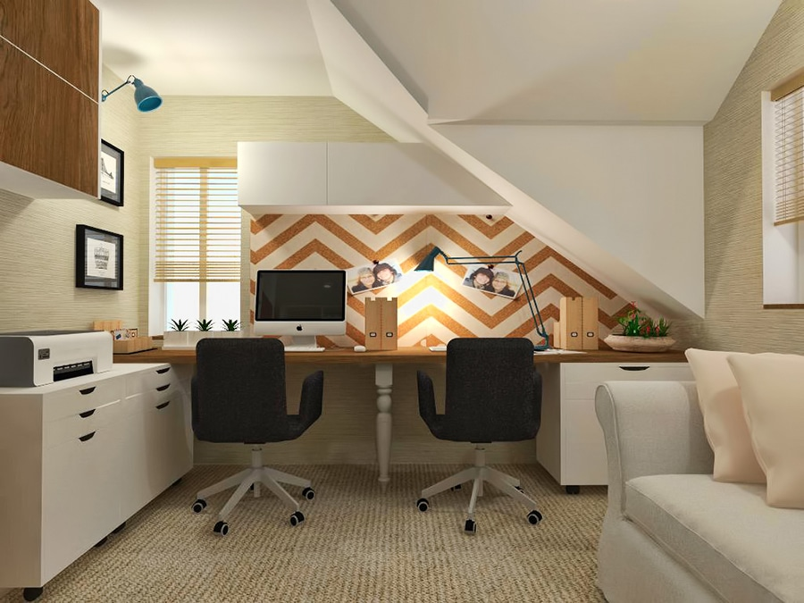 Countryside-attic-home-office credit black fox interiors.com | Innovate Building Solutions | Innovate Home Org | #Attic #HomeOffice #OfficeSpace
