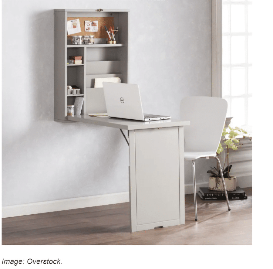 Fold up desk credit overstock and www.sheknows.com | Innovate building Solutions | Innovate Home Org | #FoldingDesk #HomeOffice #HomeOrganization