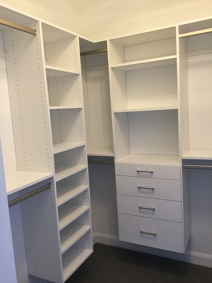 40 inch separation double hanging closet rods custom closet westerville ohio | Innovate Home Org | Columbus, OH | #ClosetSpace #WalkInCloset #Organization #StorageSystem #DoubleHanging