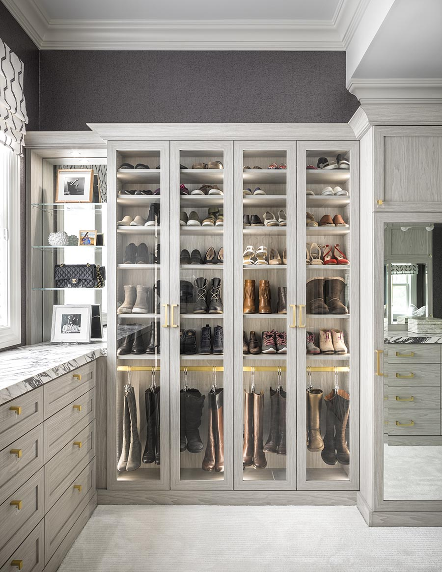 Idea 10 adjust your volume different depths in closet credit Patty Miller Boutique Closets and Cabinetry | Innovate Home Org | #CustomCloset #Organization #Designer #ColumbusClosets