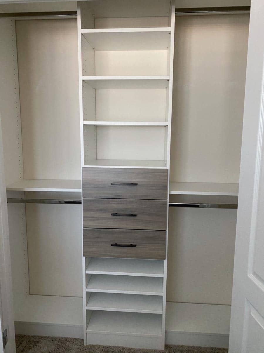 Idea 13 combining white laminate with textured drawers credit Jessica Behnke Closet Rehab | Innovate Home Org | #CustomCloset #Organization #StorageCloset