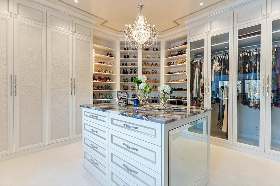 Idea 13 stylish upholstered custom closet drawer fronts credit Patty Miller Boutique Closets and Cabinetry | Innovate Home Org | #CustomStorage #Organization #WalkInCloset #ClosetSystem