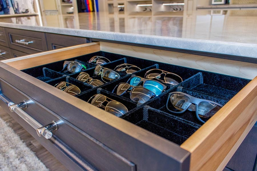 Idea 18 fancy stitching and embroidery in a custom eyeglass tray credit Beth Patrick Closet Factory Cleveland | Innovate Home Org | #Jewlery #StorageTray #Closet