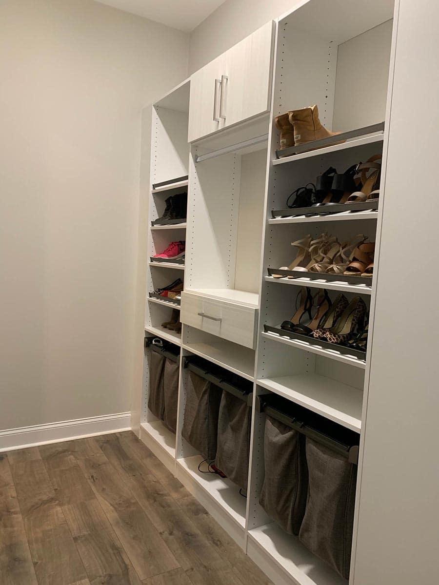 Idea 6 raised shoe shelves Jessica Behnke Closet Rehab | innovate Home Org  | #CustomCloset #Homeorganization #StorageSolutions