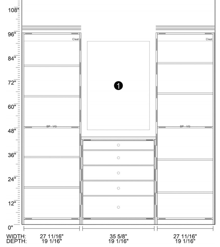 closet section dimensions | Innovate Home Org | #CustomCloset #OrganizationClosets #StorageOptions #Shelvingdepth