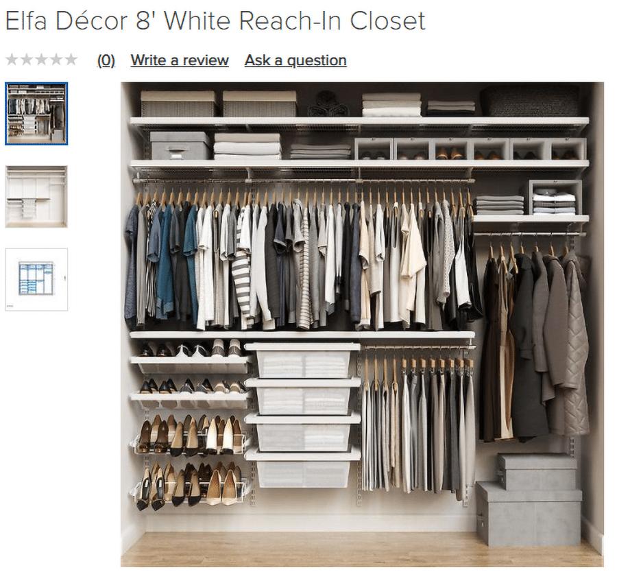 Factor 1 low price closet Elfa 8 foot white wire closet system | Innovate Home Org | #ReachInCloset #OrganizationStorage #StorageOrganization