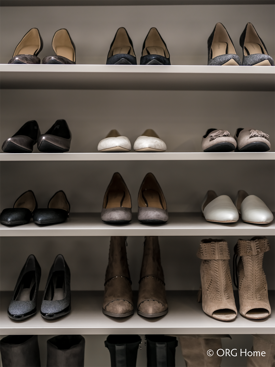 14 shoe storage in a small walk in closet columbus | Innovate Home Org | #CustomStorage #AdjustableShelving #StorageShelving #ShoeStorage
